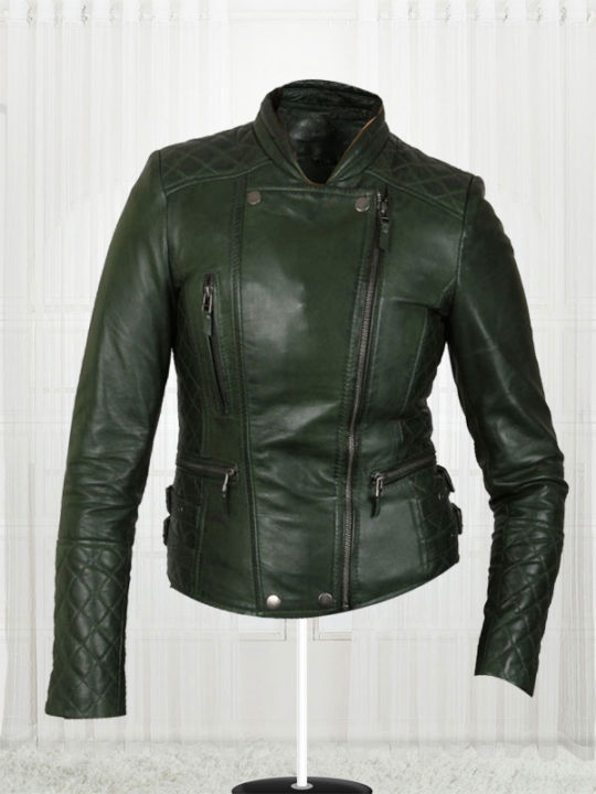 Women's Olive Green Biker Jacket - Stars Jackets