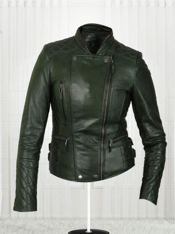 Women's Olive Green Biker New Fashionable Leather Jackets