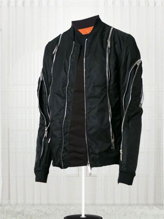 Zip Trim Classic Black Bomber Jackets