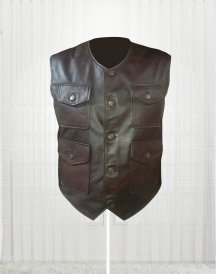 Genuine Lambskin Cargo Brown Vest