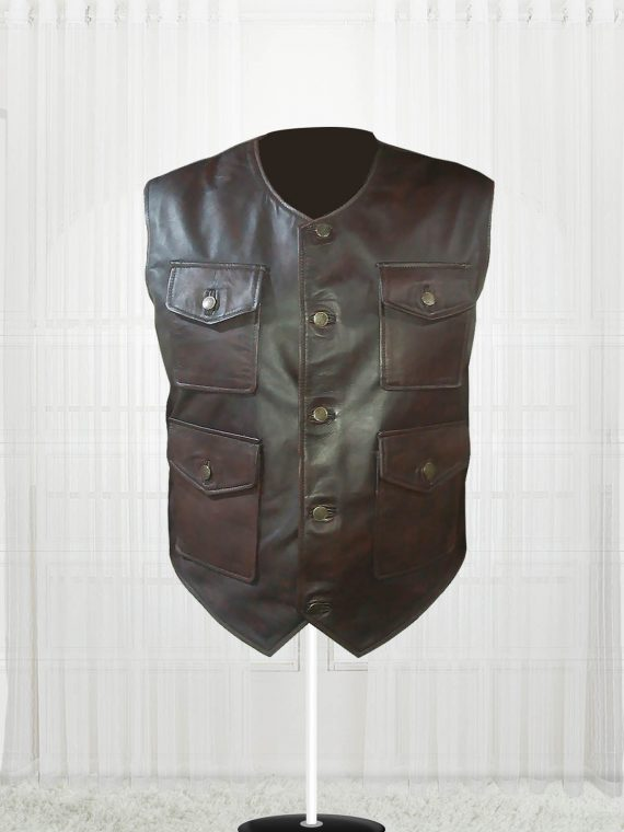 Genuine Lambskin Cargo Brown Vest