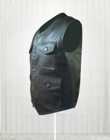 Genuine Lambskin Cargo Brown Vests