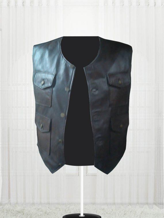 Genuine Lambskin Cargo Men Brown Vest