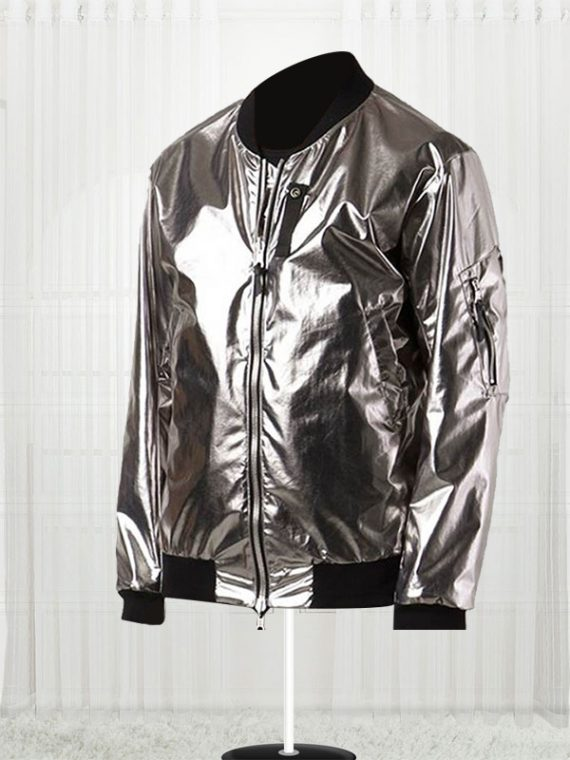 11 By Boris Bidjan Saberi Silver Satin Bomber Men Jacket