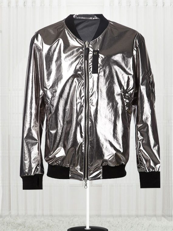 11 By Boris Bidjan Saberi Silver Satin Bomber Men Jackets