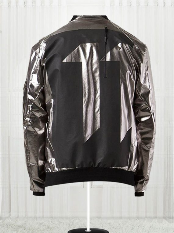 11 By Boris Bidjan Saberi Silver Satin Bomber Men's Jacket