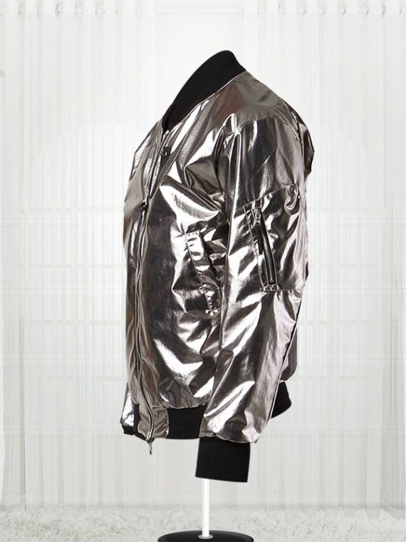 11 By Boris Bidjan Saberi Silver Satin Bomber Men's Jackets