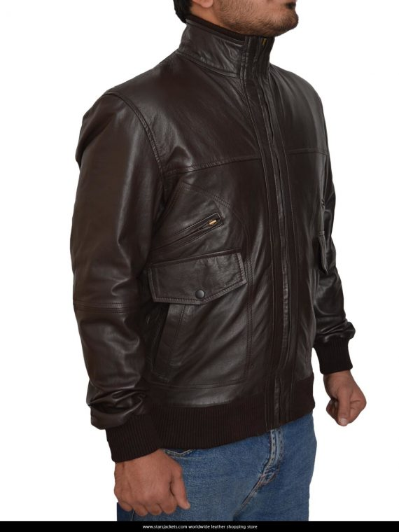 6 Pocket Slim Fit Bomber Black Leather Jacket