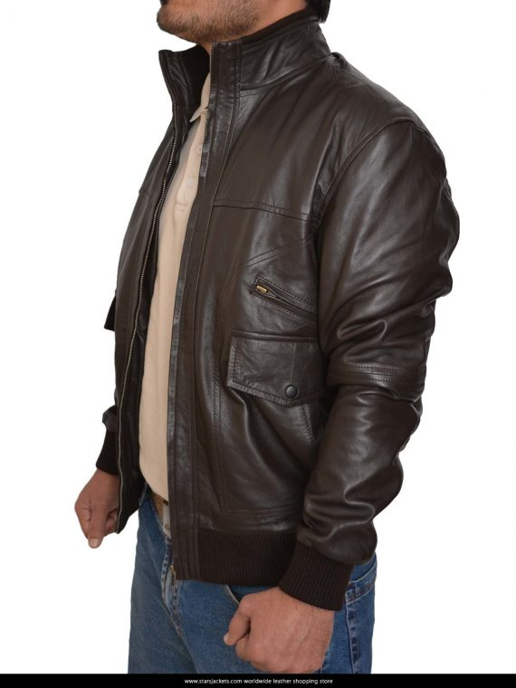 6 Pocket Slim Fit Bomber Black Leather Jackets