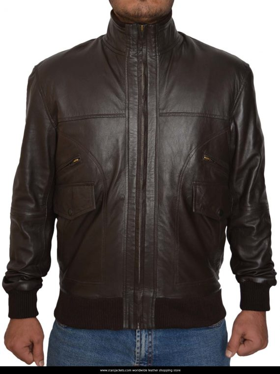6 Pocket Slim Fit Bomber Leather Jacket