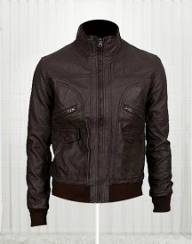 6 Pocket Slim-fit Bomber Leather Jacket
