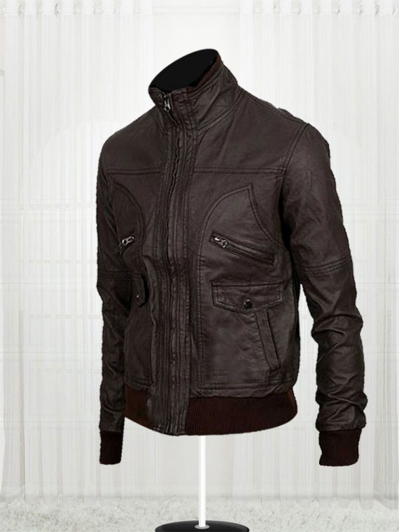 6 Pocket Slim-fit Bomber Leather Jackets