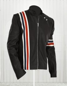 American Flag Jacket - Black Leather Motorcycle Jacket