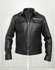 Apollo Bomber Black Leather Jacket