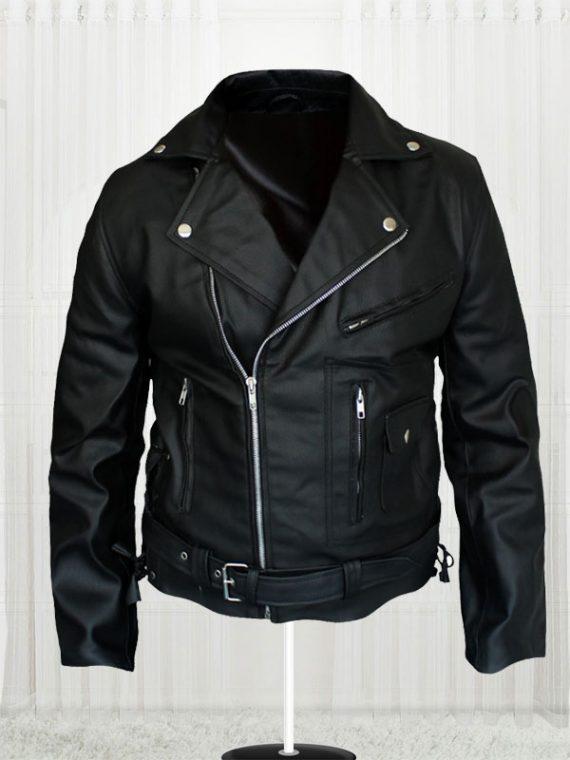 Arnold Schwarzenegger Terminator Movie Biker Black Leather Jacket