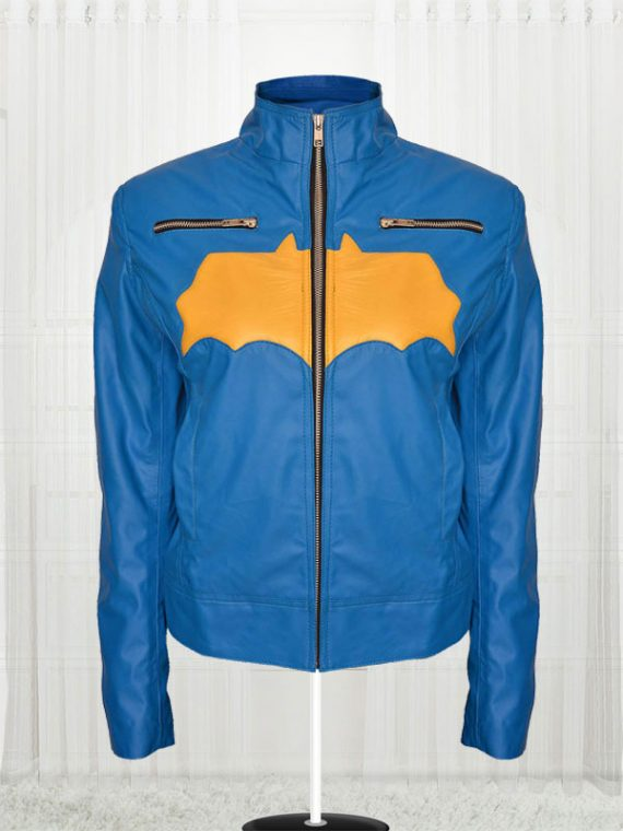 Batgirl Blue and Yellow Leather Jacket