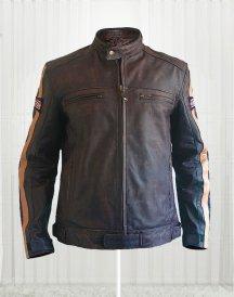 Biker Retro Racing Richa Dark Brown Leather Jacket For Men