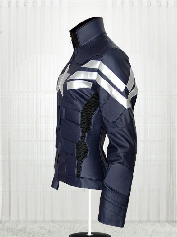 Captain America Winter Soldier Men Blue Jacket