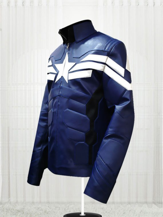 Captain America Winter Soldier Mens Blue Jacket