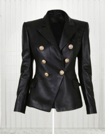 Fabulous Paris Kim Kardashian Leather Black Jacket