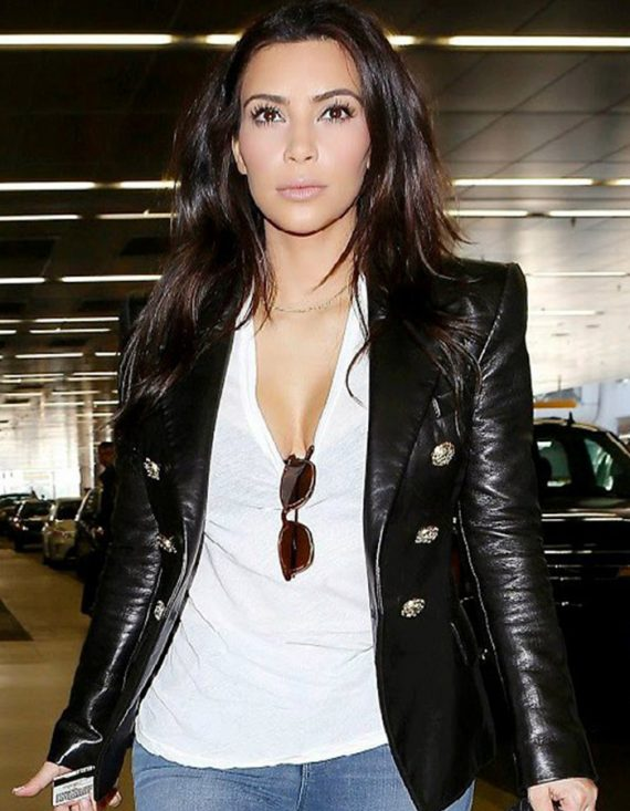 Fabulous Paris Kim Kardashian Leather Women Black Jacket