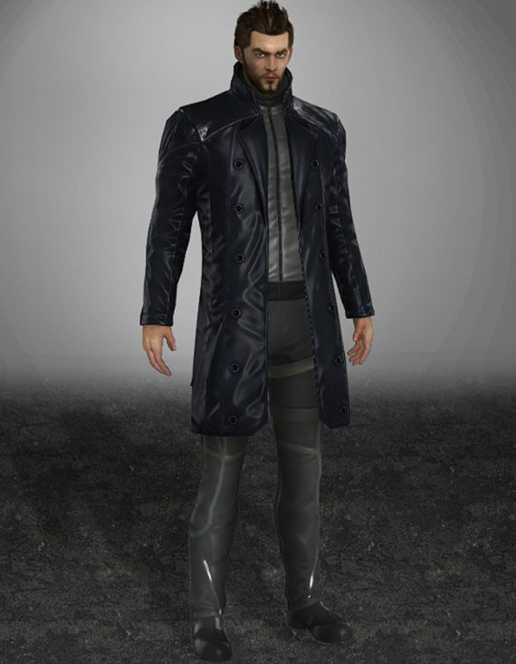 Human Revolution Adam Jensen men's trench Leather Coat