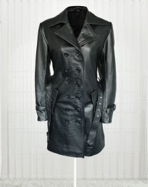 Lauren Pope Black Leather Jacket Coat