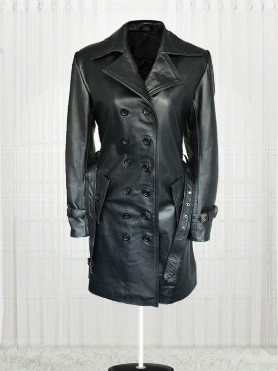 Lauren Pope Black Leather Jacket Coat