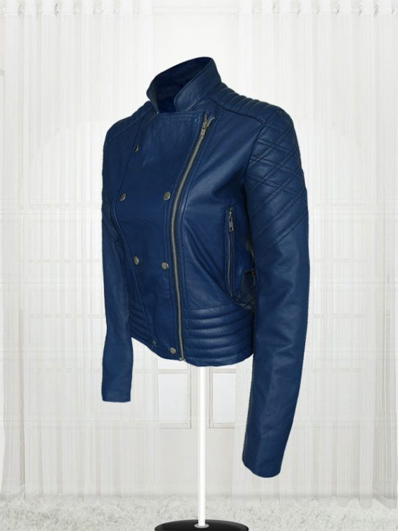 London Studio Susanna Reid Blue Leather Women Jacket