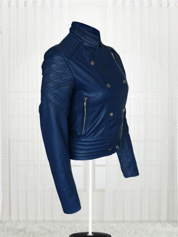 London Studio Susanna Reid Blue Leather Women's Jacket.jpg