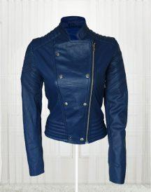 London Studio Susanna Reid Blue leather Jacket