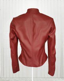 Stylish Maroon Color Women Leather Jacket
