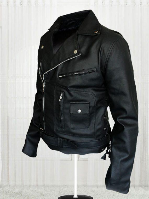 Terminator Movie Arnold Schwarzenegger Biker Black Leather Jacket