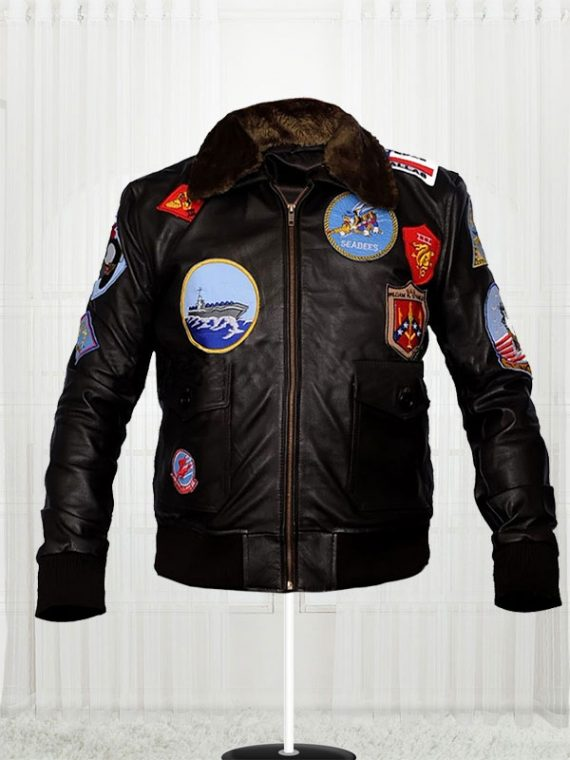 Tom Cruise Top Gun Movie Black Jacket For Men