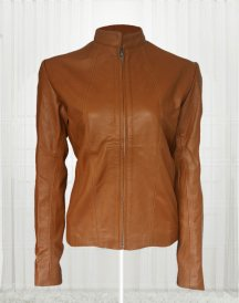 Women Brown Front Zip Jacket
