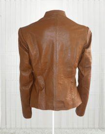Women Brown Front Zip Leather Jacket