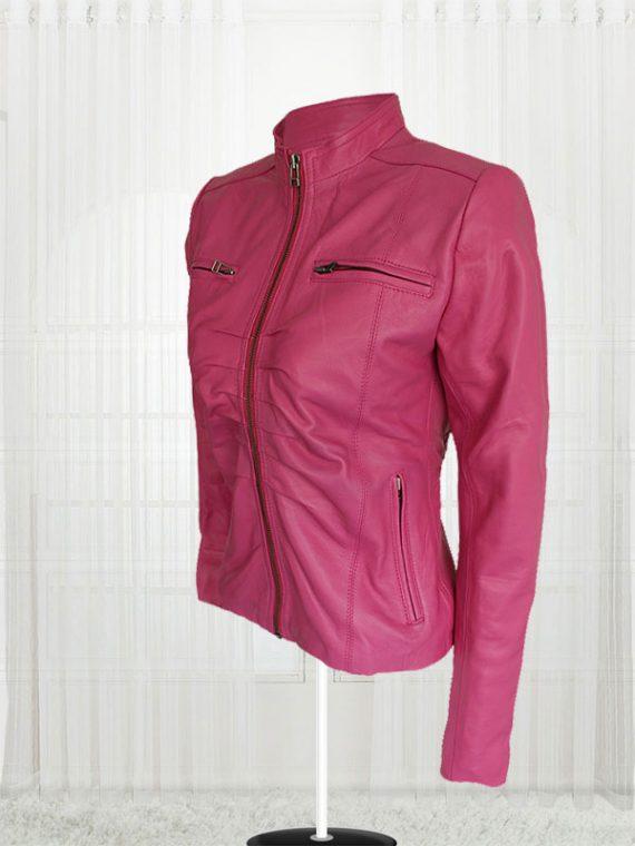 Women Pink Color 4 Pockets Jacket