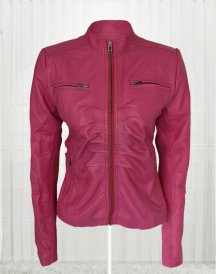Women Pink Color 4 Pockets Leather Jacket
