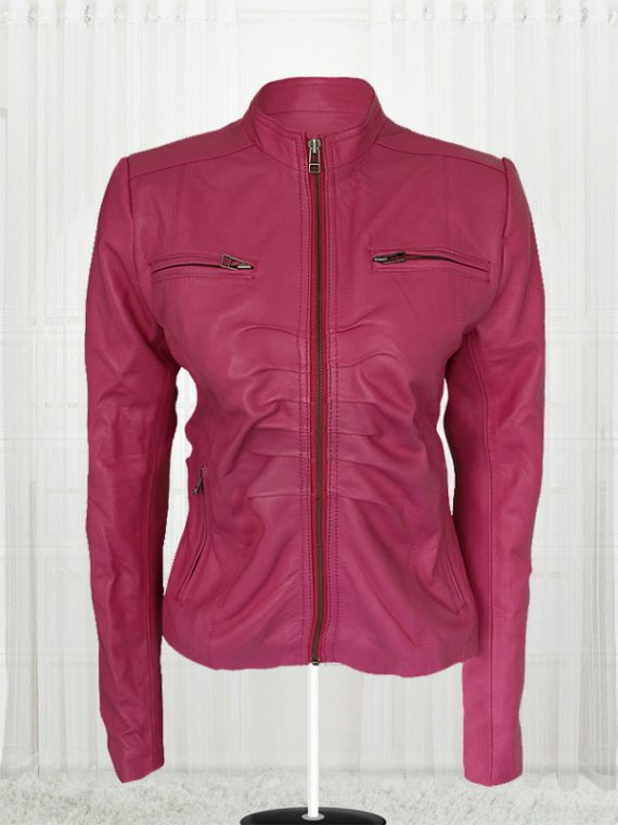 Women Pink Color 4 Pockets Leather Jacket