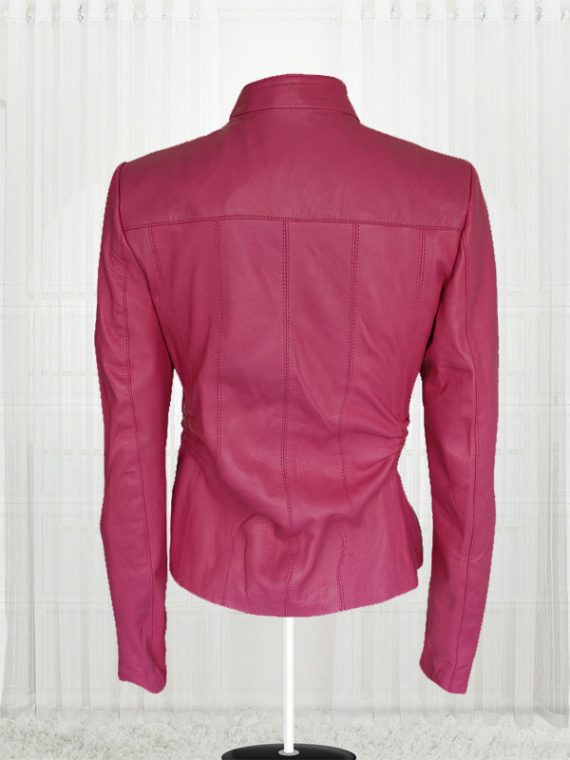 Women Pink Color 4 Pockets Leather Jackets