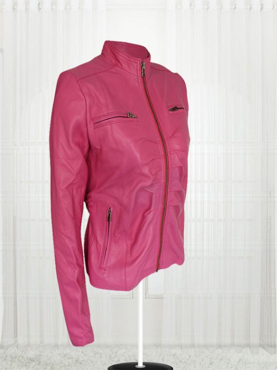 Women Pink Color Leather Jacket