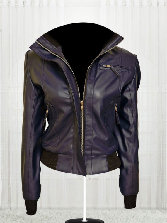 Rose Taylor Blue Bomber Leather Jacket