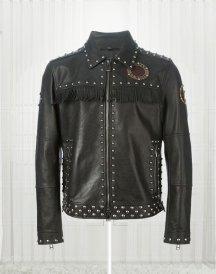 Studded Fringe Biker Jacket
