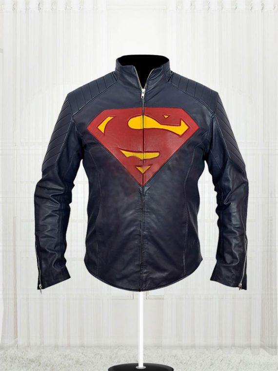 Superman - Man of Steel Midnight Blue Leather Jacket