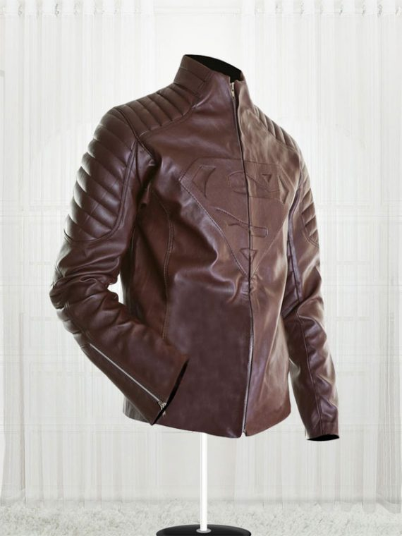 SupperMan Blue Leather Jacket