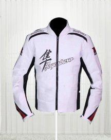 Suzuki Hayabusa White Leather Motorcycle Jacket