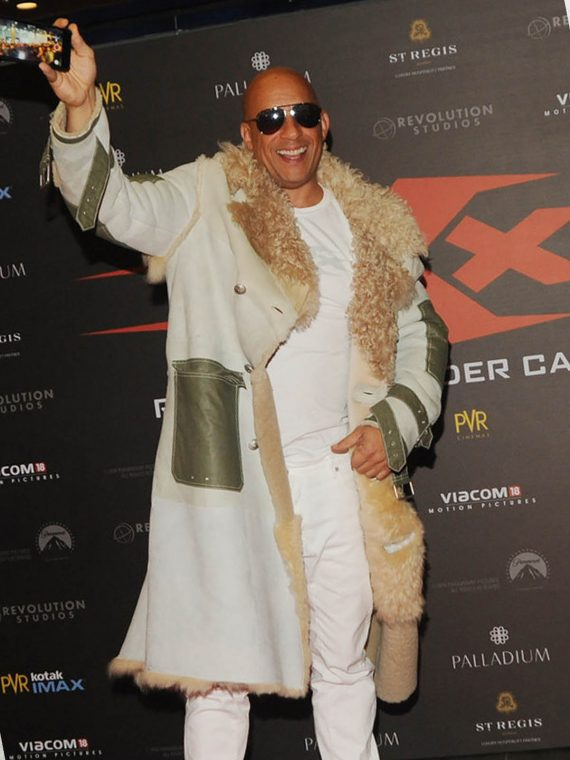 Vin Diesel xXx Movie Premiere in Mumbai Fur White Coat