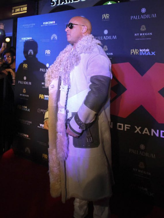 Vin Diesel xXx Movie Premiere in Mumbai White Fur Coats