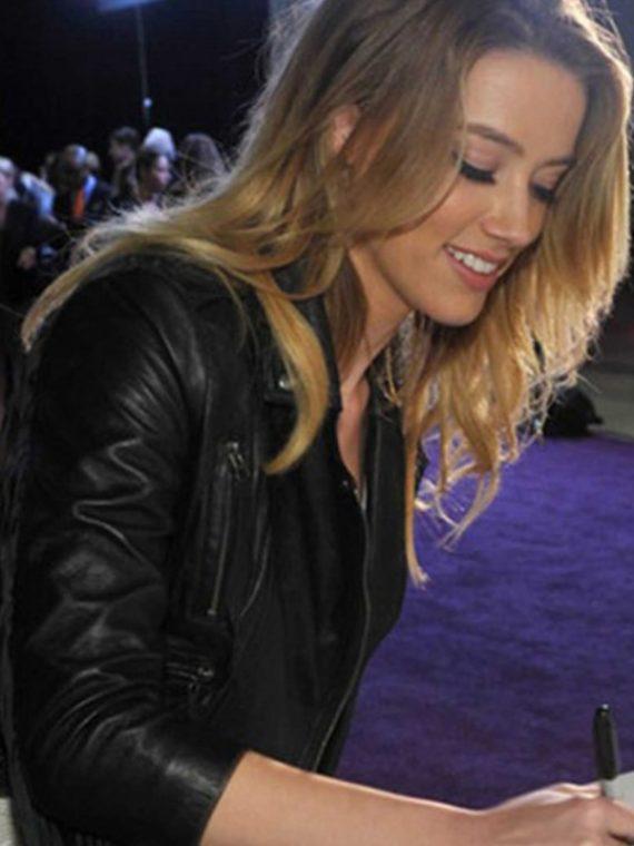 Amber Heard Black Jacket