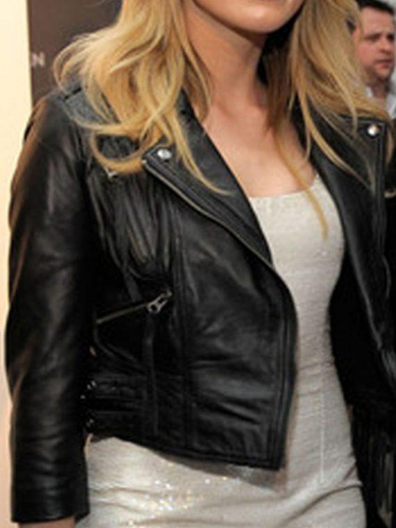 Amber Heard Black Leather Jacket
